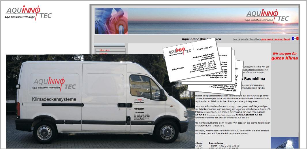 "Corporate Design ""AquinnoTec"" - Unternehmenskommunikation (Website, Visitenkarten, Kfz-Werbung)"