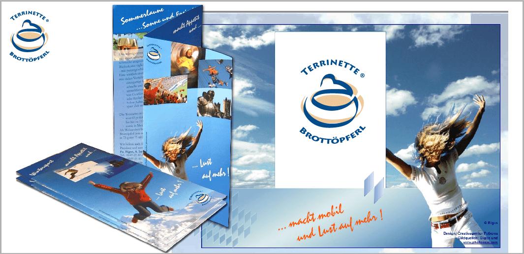 """Corporate Design """"Brotterrinette - Brottöpferl"""" - Unternehmenskommunikation (Logo, Flyer, Internetauftritt)"""