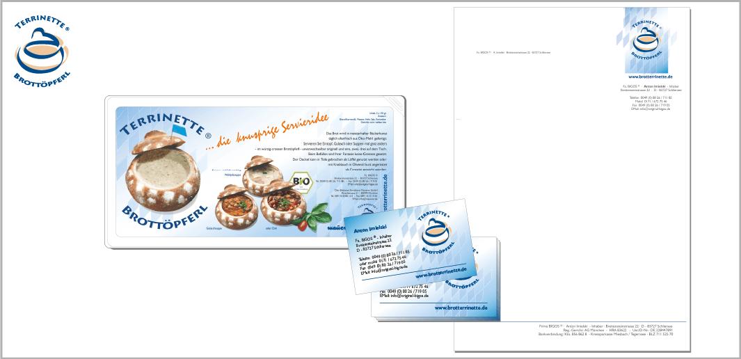 """Corporate Design """"Brotterrinette - Brottöpferl"""" - Unternehmenskommunikation (Aufkleber, Visitenkarte, Geschäftspost)"""