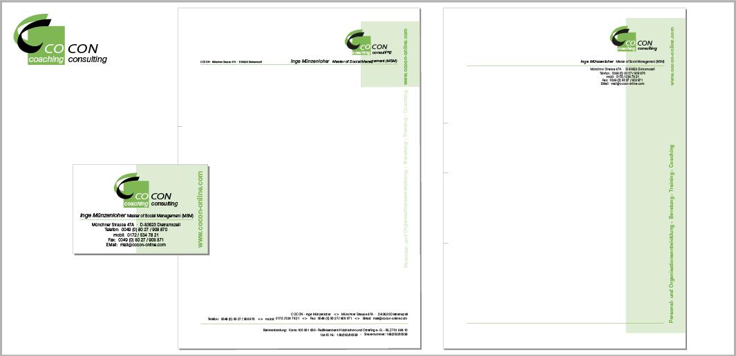 """Corporate Design """"CoCon"""" - Unternehmenskommunikation (Logodesign, Visitenkarten, Briefbogen, Werbe-Infopost)"""