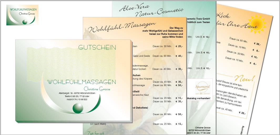"""Corporate Design """"Wohlfühl-Massagen Christine Grosse"""" - Unternehmenskommunikation (Gutschein, Flyer, Infoprospekt)"""