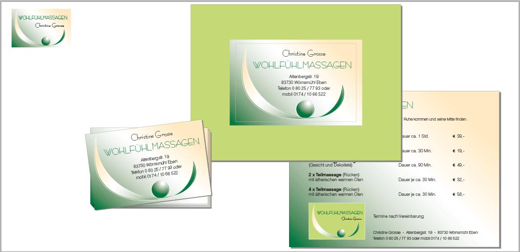 """Corporate Design """"Wohlfühl-Massagen Christine Grosse"""" - Unternehmenskommunikation (Logodesign, Visitenkarte, Werbekarte)"""