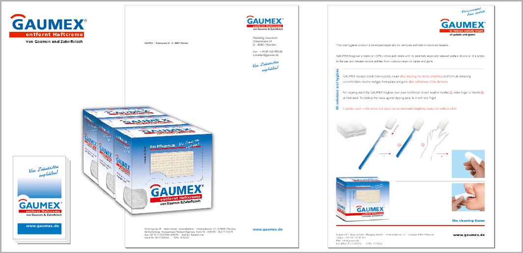 """Corporate Design """"GAUMEX"""" - Unternehmenskommunikation (Logodesign, Visitenkarten, Verpackungsdesign, Briefbogen, Werbe-Prospekt)"""
