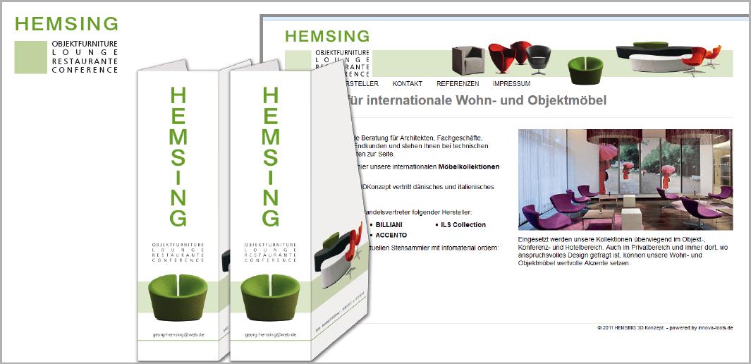 """Corporate Design """"HEMSING"""" - Unternehmenskommunikation (Präsentationsordner, Internetauftritt)"""