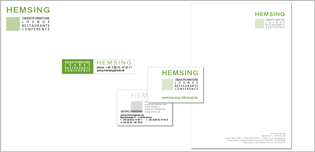 """Corporate Design """"HEMSING"""" - Unternehmenskommunikation (Logodesign, Aufkleber, Visitenkarten, Briefbogen)"""