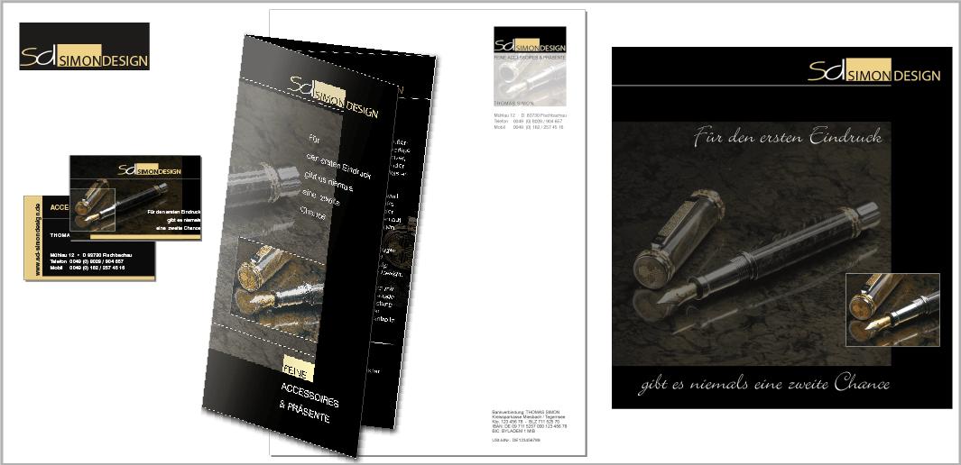"""Corporate Design """"SD Simon Design"""" - Unternehmenskommunikation (Logodesign, Visitenkarten, Flyer, Briefbogen, Website)"""