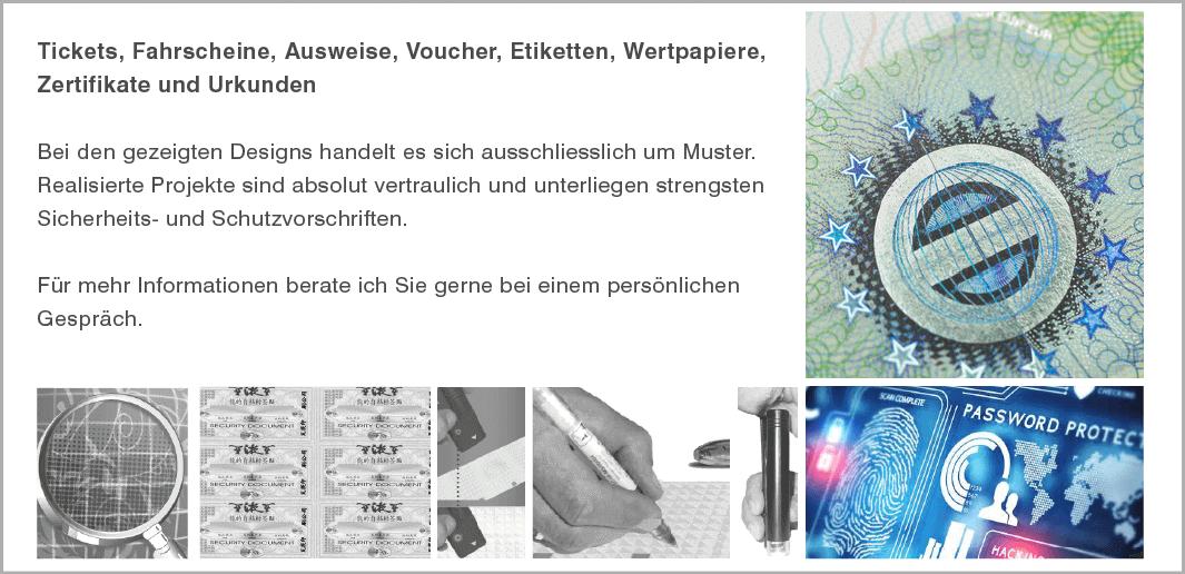 Sicherheitsdesign für Tickets, Fahrscheine, Ausweise, Voucher, Etiketten, Wertpapiere, Zertifikate und Urkunden  (Muster / specimen)