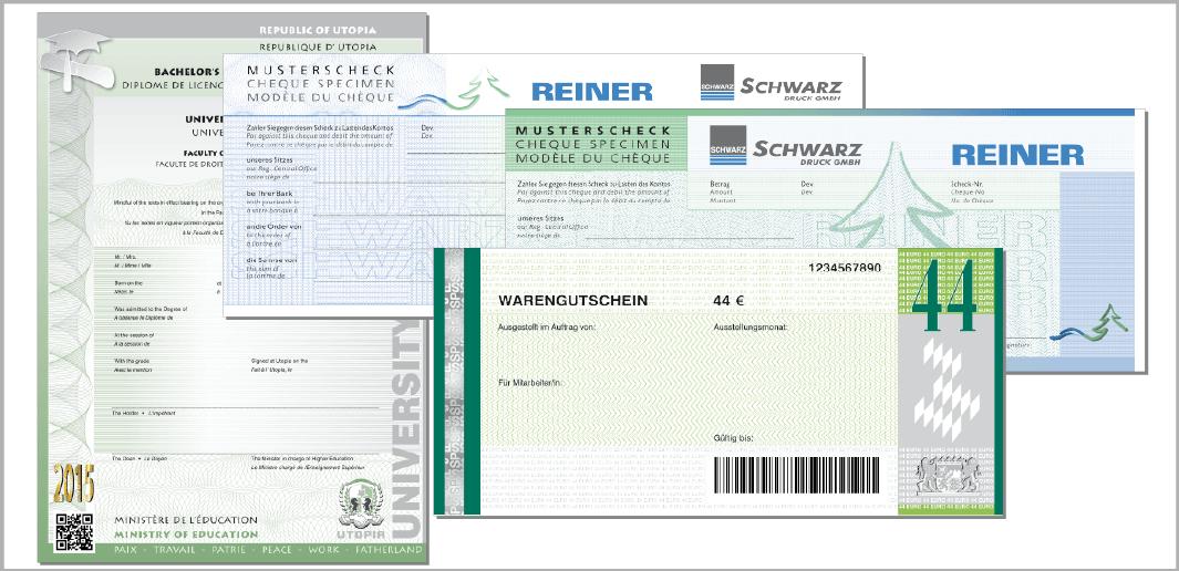 Diplom, Musterscheck und Waren-Gutschein (Muster / specimen)