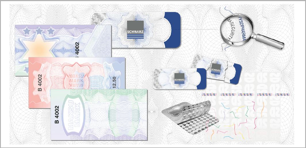 Sicherheits-Etiketten und Steuer-Banderolen Sicherheitsetikett  (Muster / specimen) mit Sicherheitsmerkmalen