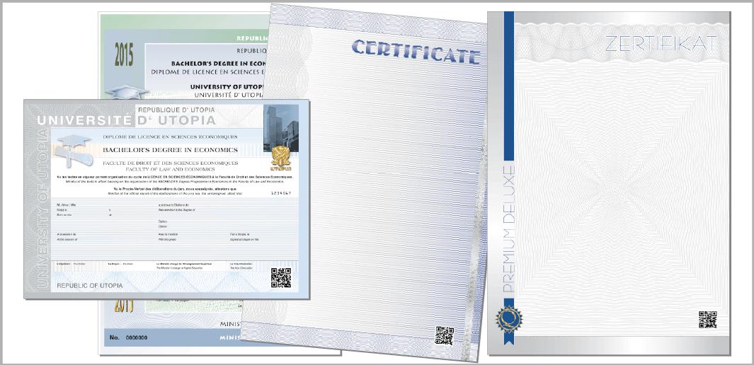 Zertifikate und Zeugnisse (Muster / specimen)