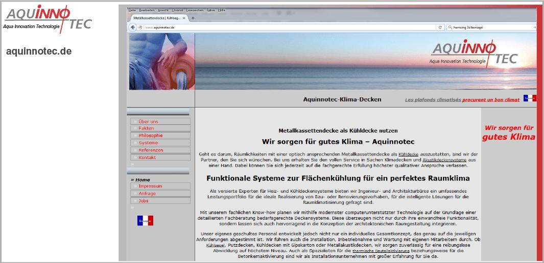 Webdesign - Aquinnotec Projekt GmbH - Klimadecken, Deutschland und Luxemburg