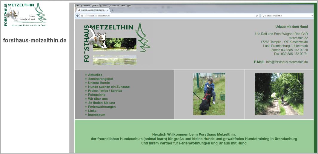 Webdesign - Forsthaus Metzelthin - Urlaub mit dem Hund