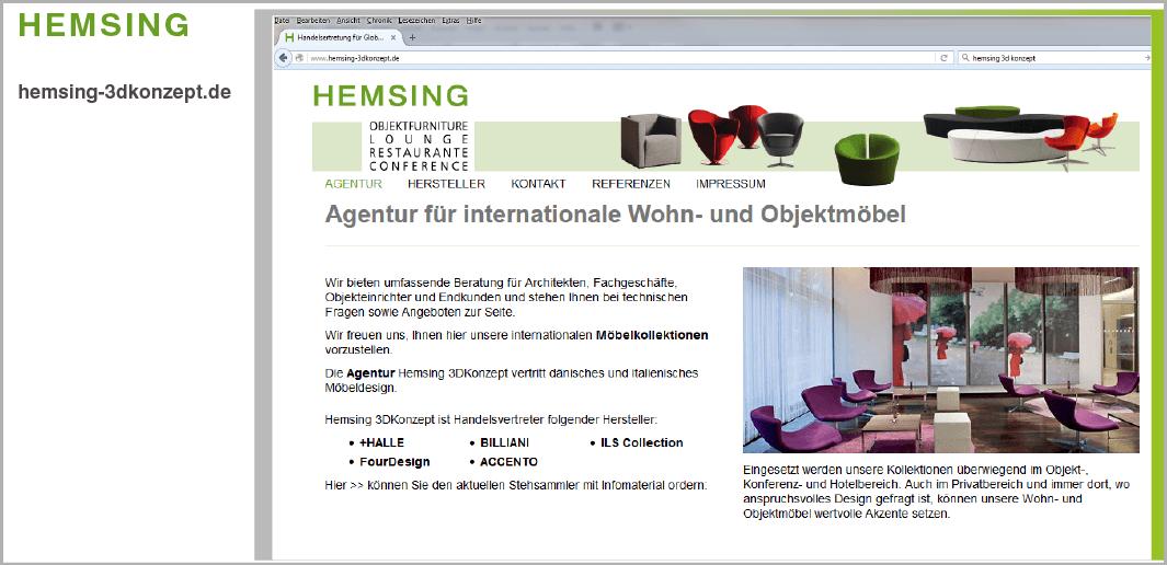 Webdesign: HEMSING-3DKonzept, Objektfurniture, Ostin