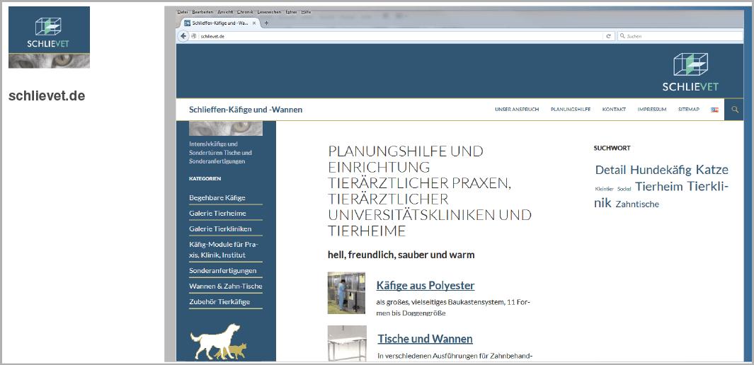 Webdesign - SchlieVet GmbH - Käfige und Wannen, Holzkirchen