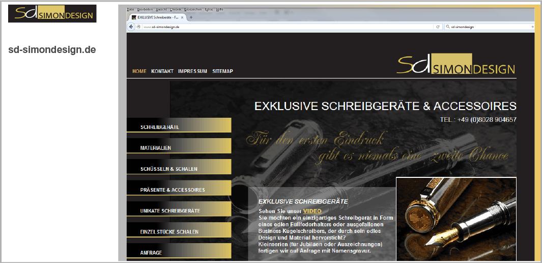 Webdesign - SD SimonDesign - Exklusive Schreibgeräte und Accessoires, Fischbachau