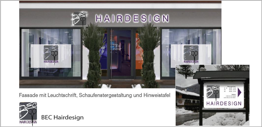 Fassaden- und Schaufenstergestaltung - BEC Hairdesign, Rottach-Egern