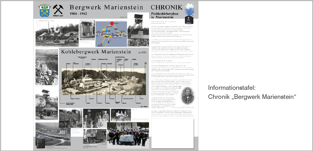 Informationstafel - Chronik Bergwerk Marienstein, Gemeinde Waakirchen