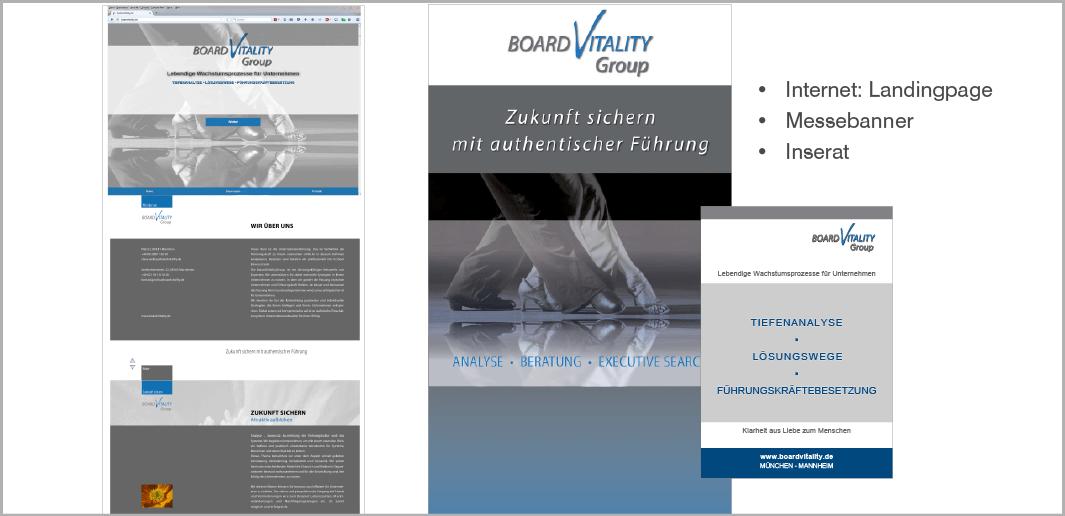Landingpage, Messebanner und Inserat - BoardVitality Group, Lebendige Wachstumsprozesse für Unternehmen, München und Mannheim
