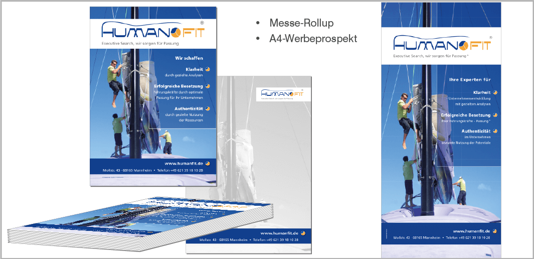 Messe-Rollup und Werbeprospekt - HUMAN FIT - Coaching und Executive Search, Mannheim