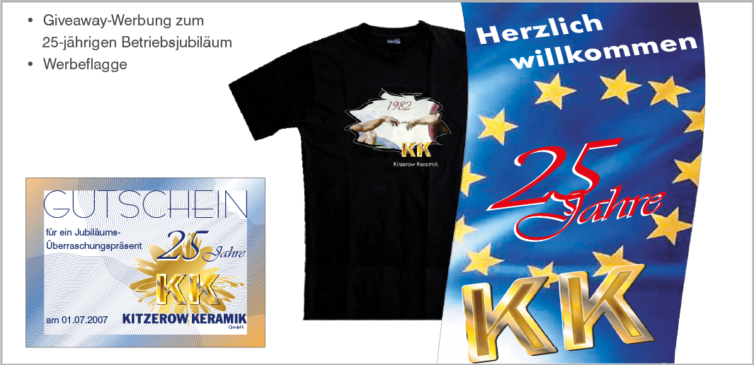 Giveaway-Werbung und Werbeflagge: Kitzerow Keramik GmbH, Miesbach