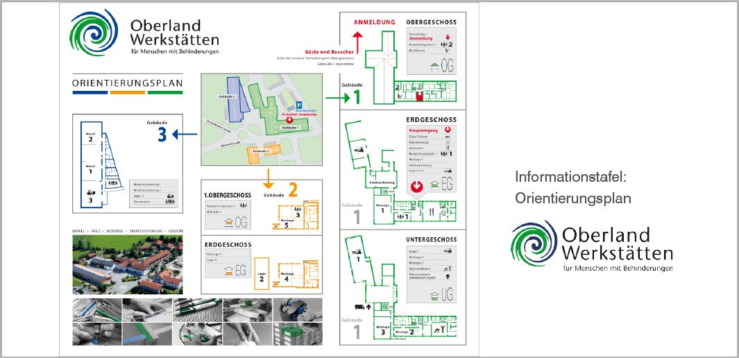 Info- und Orientierungstafel - Oberlandwerkstätten - für Menschen mit Behinderungen, Poing