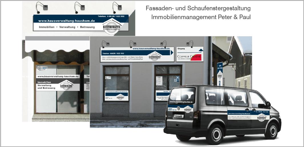 Fassaden- und Schaufenstergestaltung - Peter & Paul - Immobilienmanagement, Hausham