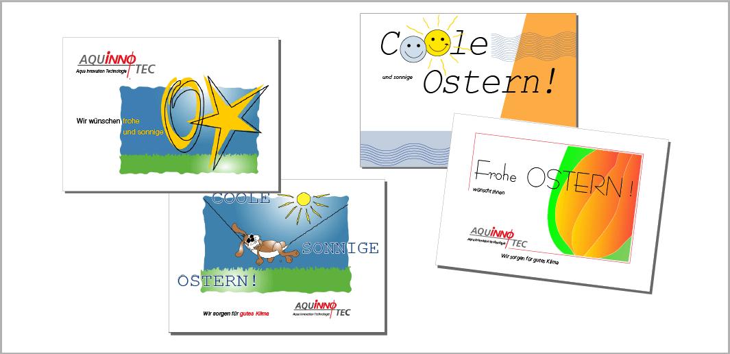 Oster-Glückwunschkarten der Firma Aquinnotec