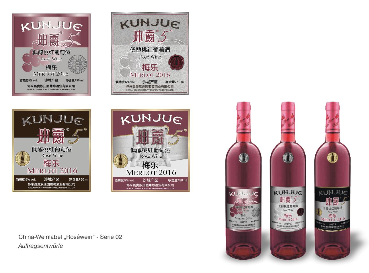 """China Weinlabel-Designs """"Roséwein"""""""
