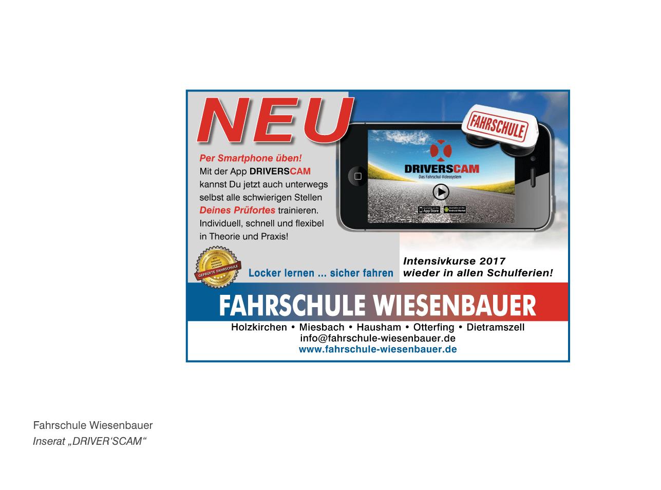 "Fahrschule Wiesenbauer - Inserat ""DRIVER'SCAM"""