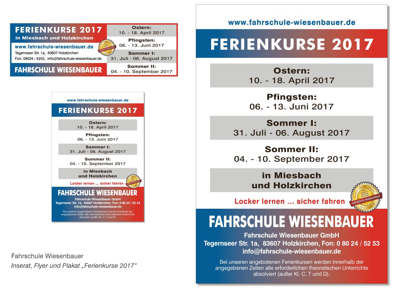 "Fahrschule Wiesenbauer - Inserat, Flyer und Plakat ""Ferienkurse 2017"""