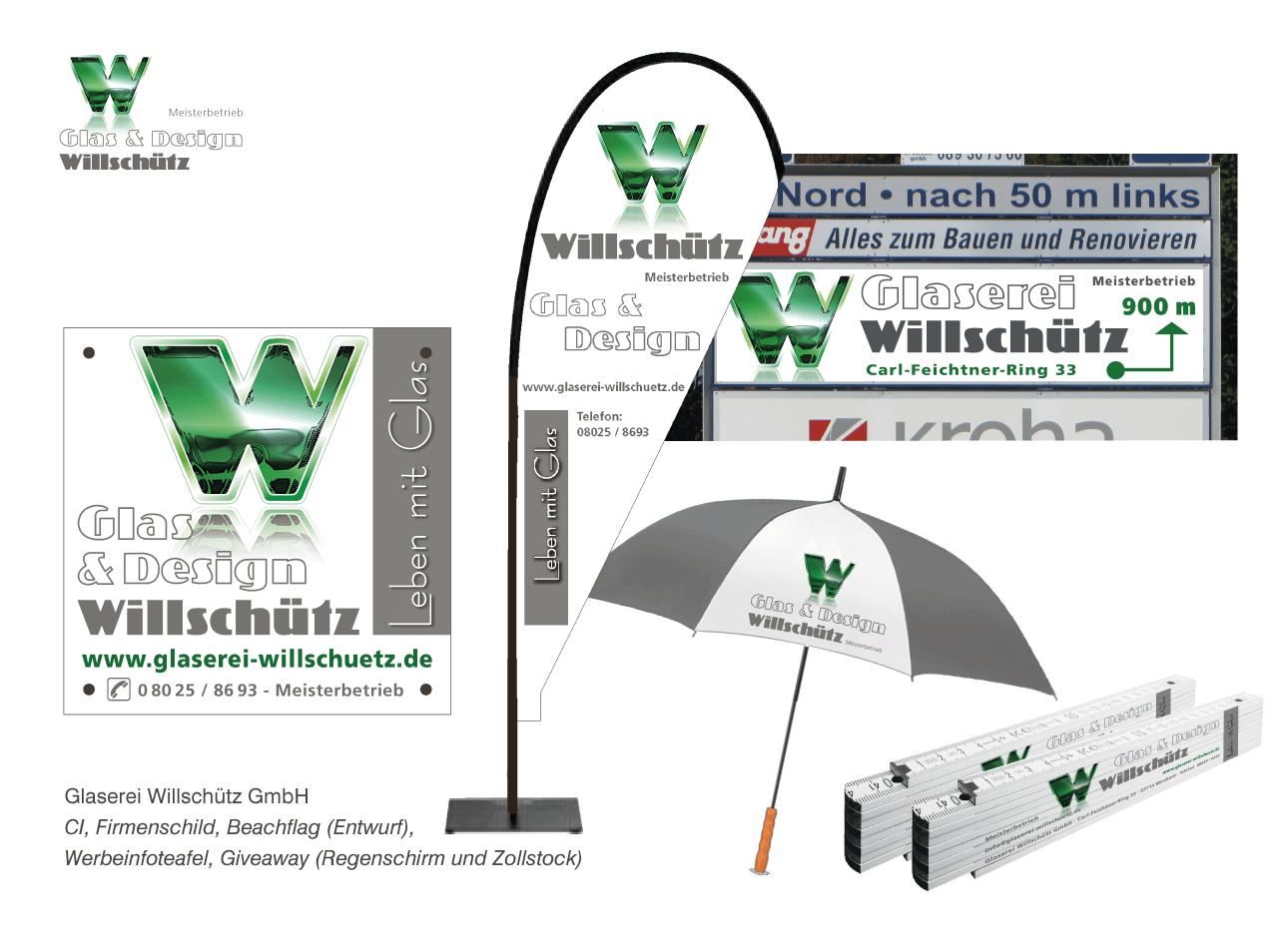 Glaserei Willschütz GmbH - Corporate Design, Firmenschild, Beachflagentwurf, Werbe-Infotafel, Giveaway-Präsente