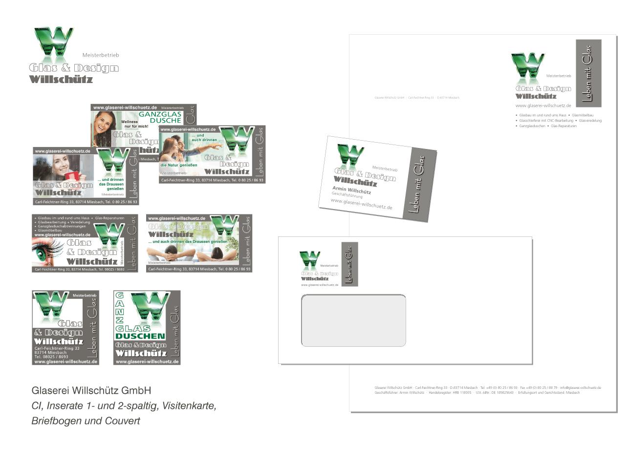 Glaserei Willschütz GmbH - Corporate Design, Inseratgestaltung, Visitenkarte, Briefbogen und Couvert