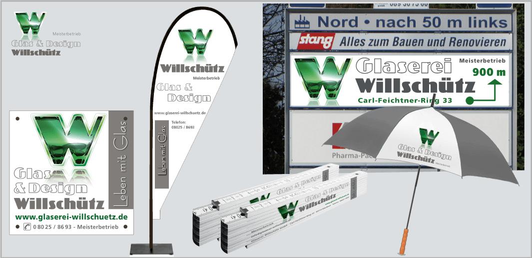 """Corporate Design """"Glaserei Willschütz"""" - Unternehmenskommunikation (Firmenschild,Beachflag,Giveaways, Info-Tafel)"""