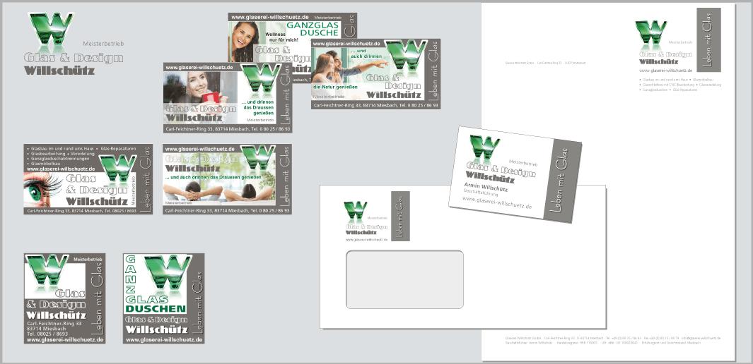 """Corporate Design """"Glaserei Willschütz"""" - Unternehmenskommunikation (Briefpapier, Couvert, Visitenkarte, Inserate 1- und 2-spaltig)"""