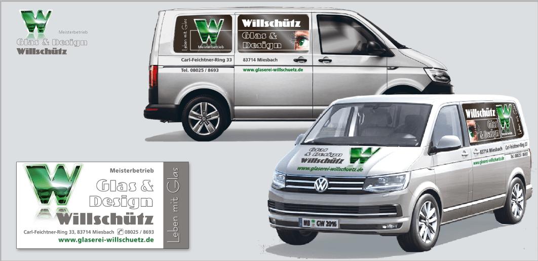 """Corporate Design """"Glaserei Willschütz"""" - Unternehmenskommunikation (Kfz-Design, Bautafel)"""